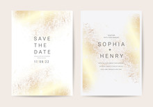 Luxury Wedding Invitation Cards With Golden Texture  Minimal Style Vector Design Template