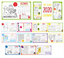 Kids Activity Calendar. 2020 A...