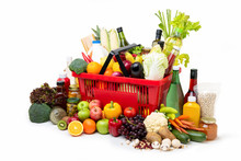 Red Supermarket Shopping Basket Full Of Colorful Foods And Groceries