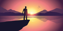 Man On A Cliff At Purple Mountain Landscape By The Lake At Sunset Vector Illustration EPS10