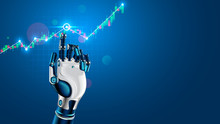 Robot Or Cyborg Hand Taps Finger On Chart Of Trading Data Of Forex Stock Exchange. App Or Software With Artificial Intelligence Analysis Business Financial Information On Trade Market. Tech Concept.