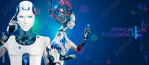 Humanoid robot man and woman waist with ai Poster Mural XXL