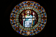 Rosette Window In A Church With God In  The Center. Romanesque Art In Europe.