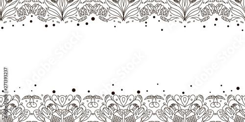 fototapeta na ścianę Abstract doodles ornament. Cakes, cherries, flowers. Vector seamless pattern.