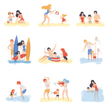 Parents And Their Children Playing, Swimming And Having Fun On Beach, Happy Family Enjoying Summer Vacation On Seashore