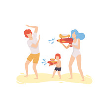 Mom, Dad And Son Playing Water Gun On Beach, Happy Family Enjoying Summer Vacation On Seashore Vector Illustration