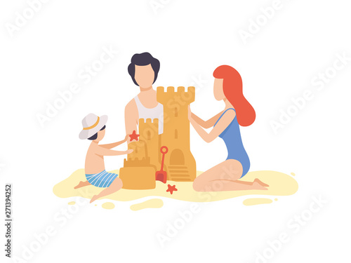 Mom, Dad and Son Building Sandcastle, Happy Family Enjoying