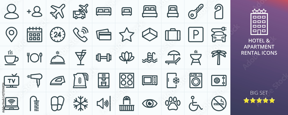 Fototapety, obrazy: Hotel icons set for website. Set of apartment rental service - inn, hostel, inn, guest house, transfer, travel, rent apartments isolated vector icons