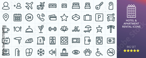 Obraz Hotel icons set for website. Set of apartment rental service - inn, hostel, inn, guest house, transfer, travel, rent apartments isolated vector icons - fototapety do salonu