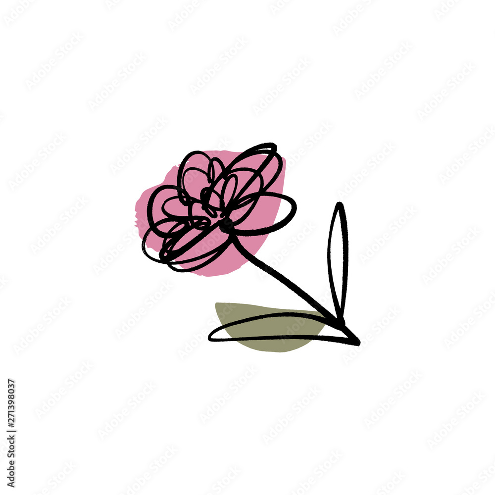Modern flower ink sketch with abstract shapes. Vector
