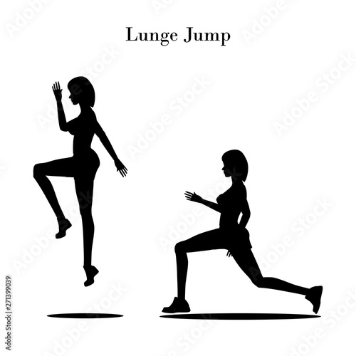 Lunge jump exercise silhouette Canvas Print