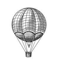 Vintage Hot Air Balloon. Vecto...