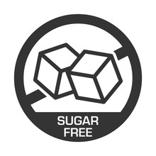 Sugar Free Label For No Sugar Added Product Package Icon