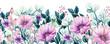 Seamless Border of Watercolor Wildflowers