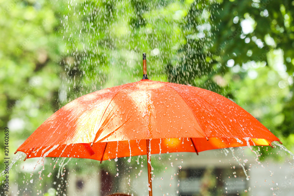 Fototapeta Bright umbrella outdoors on rainy day