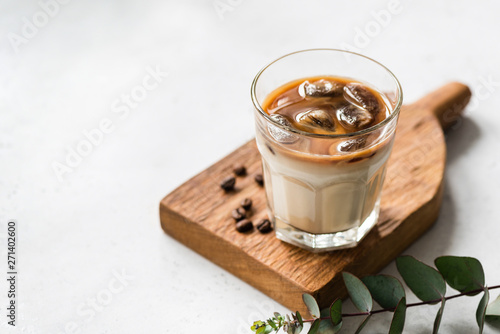 Fotomural Ice Cold Coffee In Glass, Refreshing Summer Drink