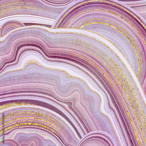 abstract background, fake stone texture, agate with pink and gold veins, painted Fototapet