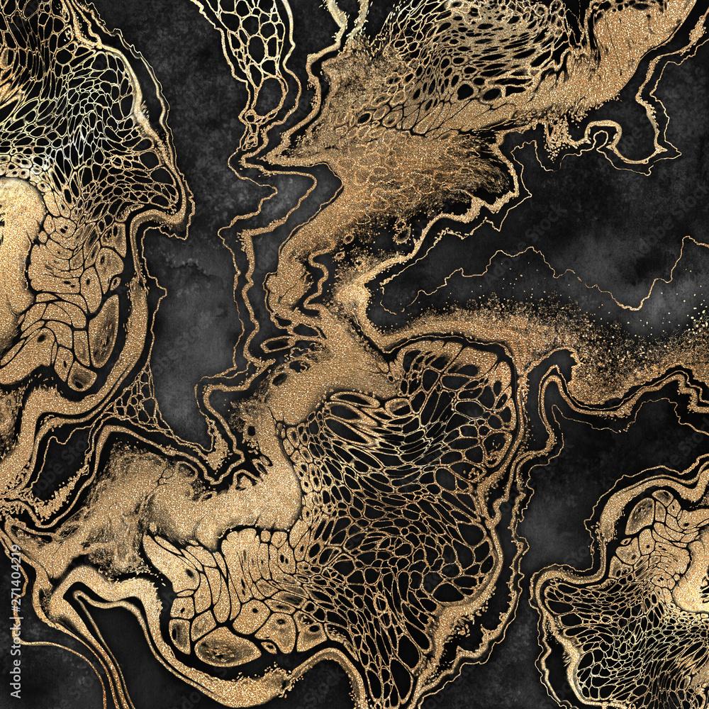 Fototapeta abstract liquid acrylic painting, gold veins on black background, creative watercolor wallpaper, marbling illustration