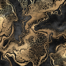 Abstract Liquid Acrylic Painting, Gold Veins On Black Background, Creative Watercolor Wallpaper, Marbling Illustration