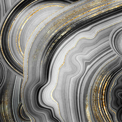 Fototapeta Abstrakcja abstract background, stone texture, artificial painted agate with gold veins, fashion marbling illustration, marbled surface, macro detail