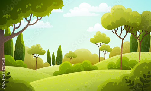 Fototapeta Vector illustration background of the Italian countryside. Hill landscape with pines and cypresses. Spring scenery with green grass and blue sky. obraz
