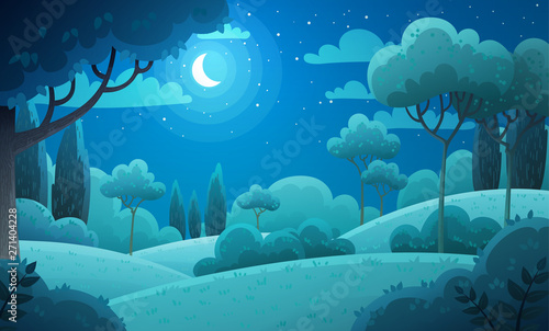 Photo sur Aluminium Bleu jean Vector illustration background of the Italian countryside. Hill landscape with pines and cypresses. Night scenery with moon and stars in dark blue sky.