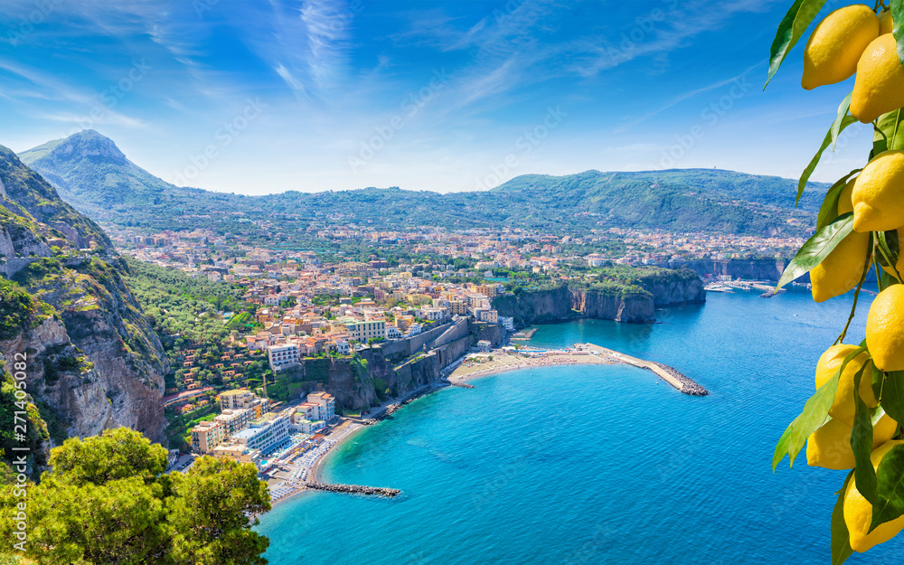 Fototapety, obrazy: Aerial view of cliff coastline Sorrento and Gulf of Naples, Italy