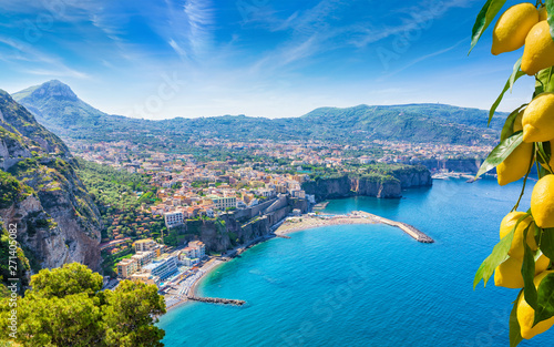 Aerial view of cliff coastline Sorrento and Gulf of Naples, Italy