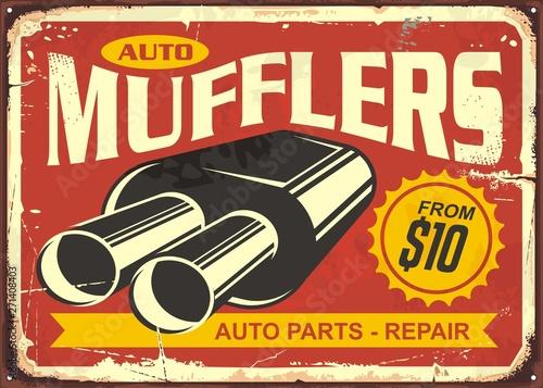 Auto mufflers retro tin sign design  Auto parts and car repair