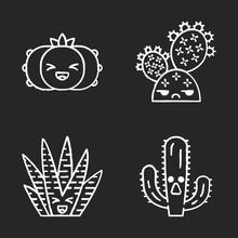 Cactuses Chalk Icons Set