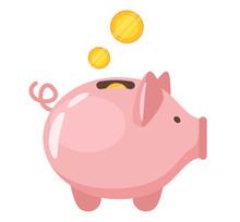 Piggy Bank Flat Vector Illustr...