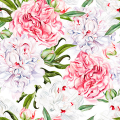 FototapetaBeautiful watercolor seamless pattern with peony flower.