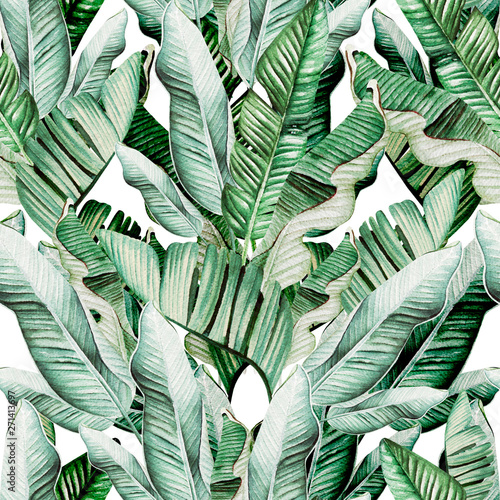 Beautiful watercolor seamless pattern with tropical leaves and banana leaves.  Wall mural