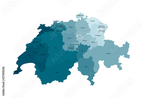 Vector isolated illustration of simplified administrative map of Switzerland Fototapet