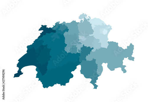Fotomural Vector isolated illustration of simplified administrative map of Switzerland