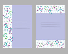 Cards With Children's Pencil Drawings On A Checkered Sheet, Monsters, Emotions, Poses. Vector.