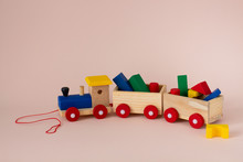 Wooden Colorful Toy Train With...