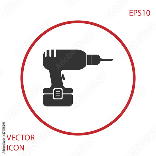 Grey Drill machine icon isolated on white background. Red circle button. Vector Illustration