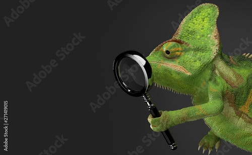 Chameleon holding magnifying glass Canvas-taulu