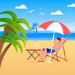 Man Tourist Resting along on Beach Illustration