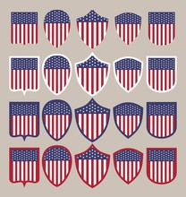 The USA State Flag Shields In ...