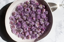 Bowl Of Chive Blossoms In Water