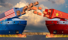 US And Chinese Merchant Ships Shooting Cardboard Boxes With USA And China Flags From Containers.USA China Economic Trade War Market Conflict Concept.3d Illustration