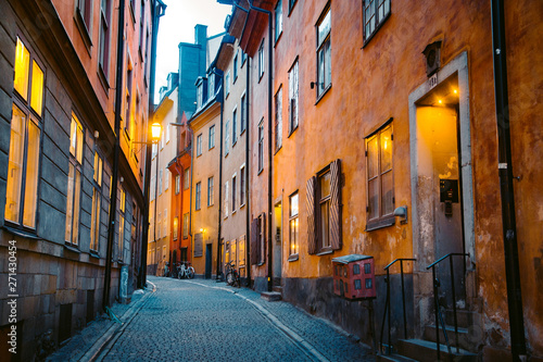 Poster Stockholm Stockholm's Gamla Stan old town district at night, Sweden