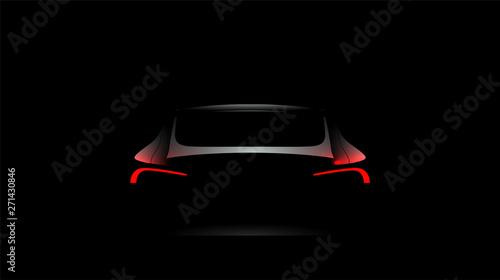 Fototapeta Back car silhouette with rear red lights on dark black background, wallpaper, banner template. Vector illustration. obraz
