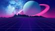 canvas print picture - Retro futuristic background 1980s style 3d illustration.