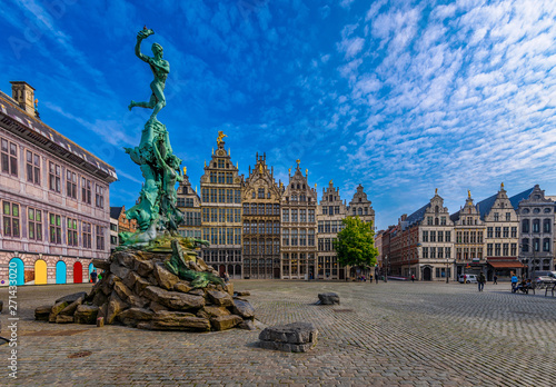 The Grote Markt (Great Market Square) of Antwerpen, Belgium. It is a town square situated in the heart of the old city quarter of Antwerpen. Cityscape of Antwerpen.