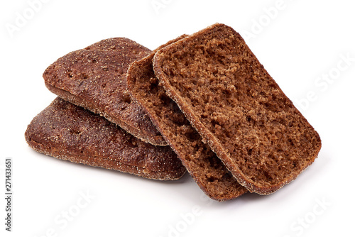 Rye snack bread, close-up, isolated on white background