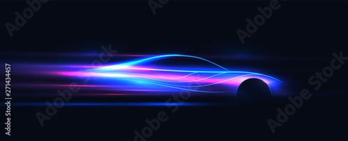 Side view neon glowing sport car silhouette Canvas Print