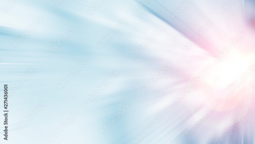 Fototapety, obrazy: 3D Rendering of abstract fast moving stripe lines with glowing sun light flare. High speed motion blur. Concept of leading in business, Hi tech products, warp speed wormhole science.